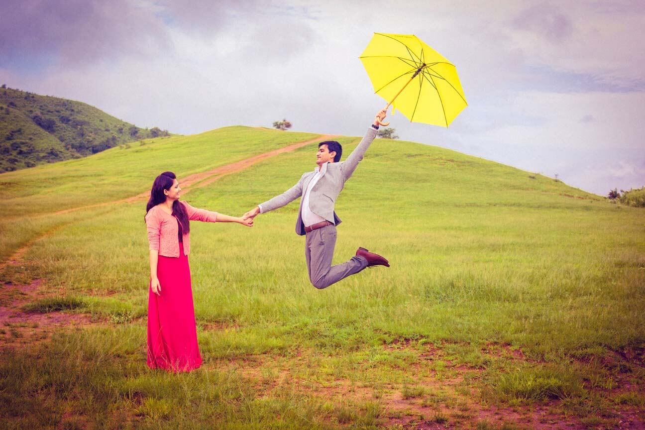 Umbrella Is An Interesting Prop To Be Used During Pre Wedding Photo Shoot